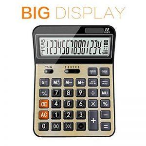 Calculatrices,Grande calculatrice/Calculatrices de bureau à 14 chiffres Solaire et Pile Calculatrice d'affaires d'or de la marque Little ants image 0 produit