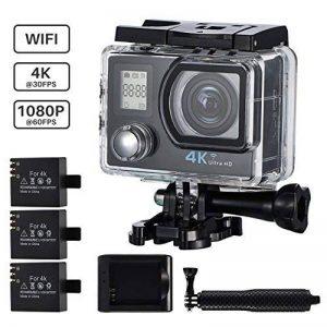 Caméra Sport 4K Wifi VicTsing Caméscope Sportive Étanche Ultra HD Caméra d'Action Sous-Marin 30m 16MP 170°Super Grand Angle avec 2 Pouces Écran LCD, 3 Batteries Rechargeables, 14 Kits d'Accessoires, Perche à Selfie Inclus pour Plongée, Moto, Vélo, VTT, Pa image 0 produit
