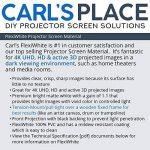 Carl de Flexiwhite Vidéoprojecteur Matériau d'écran, 4K, HD, 3D Active, Blanc Mat, DIY Vidéoprojecteur Écran foncé, RM, Contrôlé, Cadre de Lumière ambiante, Avant de Projection de la marque Carls Place image 4 produit