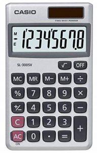 Casio SL300SV Calculatrice portative à pile et solaire Affichage 8 chiffres Touche mémoire Cache de protection 70 x 117 x 8 mm de la marque Casio image 0 produit
