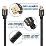 Câble HDMI 1,5M - Pro Premium - Compatible nouvelle norme HDMI 2.0b / 2.0a - HDR - Ultra HD 4K - Full HD 1080p - Hautes performances 3D, Ethernet et Audio Return Channel - Triple blindage et cordon nylon noir - Connecteurs Or de la marque Tech'Import image 3 produit