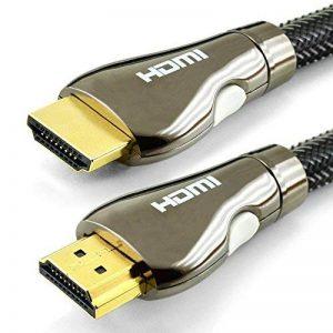 Câble HDMI 1M - Pro Classic - Compatible nouvelle norme HDMI 2.0b / 2.0a - HDR - Ultra HD 4K - Full HD 1080p - Hautes performances 3D, Ethernet et Audio Return Channel - Triple blindage et cordon nylon - Connecteurs Or de la marque TechImport image 0 produit