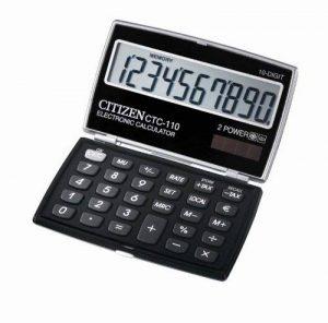 Citizen CTC-110BK PREMIUM Calculatrice Poche Poudrier 10 Grands Chiffres Digits Pocket Calculator Laquée NOIR de la marque Citizen image 0 produit