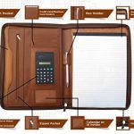 Classeur conférencier en cuir marron à fermeture pour ranger tablette iPad de la marque image 1 produit