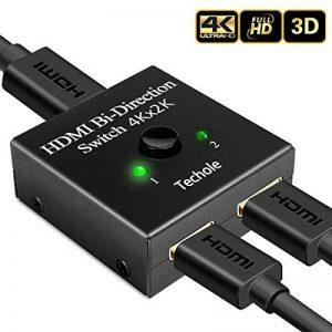 Commutateur HDMI, Techole Switch HDMI Répartiteur Bidirectionnel 2 Entrées vers 1 Sortie ou 1 Entrée vers 2 Sorties, Prend en Charge 3D 1080P 4 K, HDCP Passthrough-HDMI Switcher pour HDTV/Lecteur Blu-ray/DVD/DVR/Xbox etc de la marque Techole image 0 produit