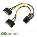 conecto cc20021électrique Cartes graphiques Câble d'alimentation 2fois SATA vers PCIe 6+ 2broches Noir 20cm de la marque conecto image 3 produit