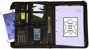 Conférencier Cuir A4 élégant I Porte Documents avec Bloc-Notes & Calculatrice I Organiseur + Classeur pour Homme & Femme, noir, de K.DESIGNS de la marque K.DESIGNS image 0 produit