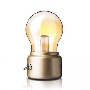 Créatif Rétro Bulbe Lampe par Adooo - Rechargeable Sans Fil LED Lumières de la Nuit Chargeur USB Lampe 3 Watts, Lumière Chaude (Doré) de la marque Adooo image 0 produit