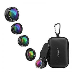 Criacr 5 en 1 Clip-on Kit Téléphone Objectifs, 2X Zoom Téléobjectif+ 198 Degré Fisheye+ 0.63x Grand Angle+ 15X Objectif Macro + Lentille Polarisée Circulaire pour iPhone 8/iPhone 7, Samsung Galaxy de la marque AMIR image 0 produit