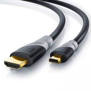 CSL - 2m (mètres) - Micro HDMI (type D) sur HDMI (type A) | câble doré (High Speed) HQ Micro HDMI 1.4 a avec prise en charge VRAIE 3D et Ethernet | Full HD / HD Ready / 3D | 1080 p / 2160 p / 4K (Ultra HD) de la marque CSL-Computer image 0 produit