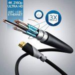 CSL - 3m (mètres) - Micro HDMI (type D) sur HDMI (type A)   câble doré (High Speed) HQ Micro HDMI 1.4 a avec prise en charge VRAIE 3D et Ethernet   Full HD / HD Ready / 3D   1080 p / 2160 p / 4K (Ultra HD) de la marque CSL-Computer image 2 produit