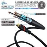 CSL - 5m Ultra HD 4k HDMI Câble | High Speed par Ethernet | Full HD 1080P/4K Ultra HD 2160P/3D/ARC et CEC | Câble Triple Blindage + Blindage Fiche et Contacts de la marque CSL-Computer image 2 produit