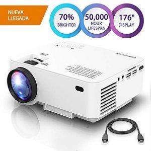 """DBPOWER Mini Projecteur, Projecteur vidéo LED HD 1080P +70% plus lumineux avec un écran de 176 """", durée de vie de 50 000 heures, projecteur de cinéma maison Compatible avec le stick Amazon Fire TV de la marque DBPower® image 0 produit"""