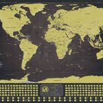 Deluxe Scratch-Off Travel Map Poster–avec drapeaux de pays et le monde de 50Plus Visités touristiques, suivi de vos Aventures (Noir et Doré avec argent montagnes–83,8x 58,4cm) de la marque ZEZAZU image 1 produit