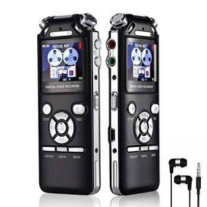 dictaphone enregistreur vocal voix Audio Recorder 16Go Double Réduction du bruit numérique intelligent Design mémoire MP3avec écran coloré Noir de la marque AMRNCY image 0 produit