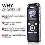 dictaphone enregistreur vocal voix Audio Recorder 16Go Double Réduction du bruit numérique intelligent Design mémoire MP3avec écran coloré Noir de la marque AMRNCY image 3 produit
