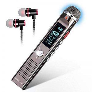 Dictaphone Numérique Portable KINGTOP 8Go Enregistreur Vocal Rechargeable Grand Microphone Radio FM Lecteur Mp3 avec un Support, Argenté, Garantie de 2 Ans de la marque KINGTOP image 0 produit