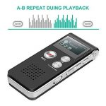 Dictaphone Numérique, TENSAFEE 8g Dictaphone Magnétophone, Portable Rechargeable HD avec double micro enregistreur audio enregistrement claire, lecteur mp3 / a - b répète / touche d'enregistrement, voix pour des Conférences / Réunions / Interviews / Confé image 4 produit