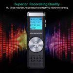 Dictaphone Numérique,TENSAFEE 8GB Dictaphone,Rechargeable HD avec double micro enregistreur audio vocal numérique,lecteur mp3/a-b répète/touche d'enregistrement, voix pour des Conférences/Réunions/Interviews/Conférence/Classe /d'enregistrement de la marqu image 2 produit