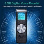 Dictaphone Numérique,TENSAFEE 8GB Dictaphone,Rechargeable HD avec double micro enregistreur audio vocal numérique,lecteur mp3/a-b répète/touche d'enregistrement, voix pour des Conférences/Réunions/Interviews/Conférence/Classe /d'enregistrement de la marqu image 4 produit