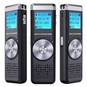 Dictaphone Numérique,TENSAFEE 8GB Dictaphone,Rechargeable HD avec double micro enregistreur audio vocal numérique,lecteur mp3/a-b répète/touche d'enregistrement, voix pour des Conférences/Réunions/Interviews/Conférence/Classe /d'enregistrement de la marqu image 0 produit