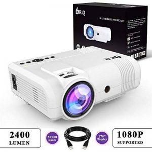 DR.Q Projecteur de 2400 Lumens, Vidéoprojecteur supportant 1080P, 50000 Heures, Compatible avec Fire TV Stick HDMI, VGA, USB, AV, Blanc. de la marque DR.Q image 0 produit