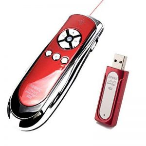 Duronic SP400 /RD Télécommande de présentation sans fil infrarouge 2.4 Ghz de couleur rouge avec pointeur laser et souris – Garanti 2 ans de la marque Duronic image 0 produit