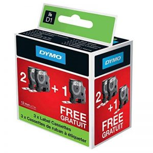 Dymo D1 Ruban d'Etiquetage pour étiqueteuses LabelManager, 12 mm x 7 m, Noir sur Blanc, Pack spécial 2+1 de la marque DYMO image 0 produit