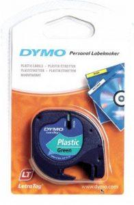 Dymo LT S0721690 Étiquettes en Plastique Rouleau de 12mmX4M, Impression en Noir sur Fond Vert, Plastique, Pour Imprimantes Letratag de la marque DYMO image 0 produit
