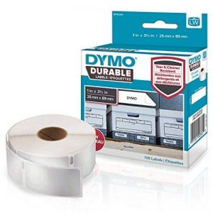 DYMOLW Étiquettes résistantes pour étiqueteuses LabelWriter, plastique blanc, 25x 89mm, rouleau de100 (1976200) de la marque DYMO image 0 produit