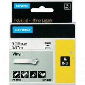 Dymo Rhino Etiquettes Industrielles Vinyle 9mm x 5,5m - Noir sur Blanc de la marque DYMO image 0 produit