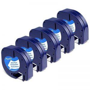 Dymo Ruban, 5x Recharge Dymo LetraTag Ruban Plastique 12 mm x 4 m Noir sur Blanc, Compatible pour Dymo LetraTag LT-100H LT-100T Étiqueteuse Portable de la marque Aken image 0 produit