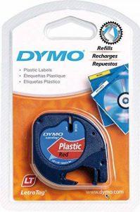 Dymo S0721680 Étiquettes en Plastique Lt, Rouleau de 12mmX4M, Impression en Noir Sur Fond Rouge, pour Imprimantes Letratag de la marque DYMO image 0 produit