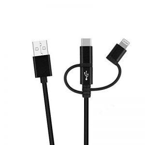 Efanty 3 en 1 Câble de Chargeur Multi-Câble, Universel (Lightning/Type-C/Micro USB) pour iPhone iPad Samgung Huawei - (1M, Noir de la marque Efanty image 0 produit