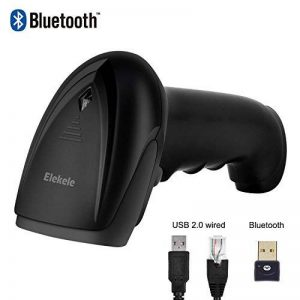 Elekele 1D Lecteur Codes-Barres Sans fil Scanner Bluetooth Douchette Codes à Barres avec Fil Processeur 32 bits Compatible avec Windows MAC OS Google Android Linux pour Bibliothèque Supermarché Magasin Entrepôt etc. (1D Bleutooth Noir) de la marque Elekel image 0 produit