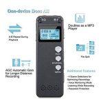 Enregistreur vocal, Chengstore 8Go Audio son Enregistreur portable dictaphone Activation vocale Enregistreur avec lecteur MP3A-B répétition de réduction du bruit d'enregistrement HD de la marque Chengstore image 2 produit
