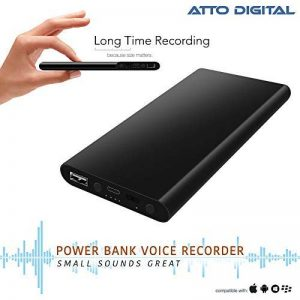Enregistreur Vocal dans Power Bank Functional | Enregistreur Audio à Commande Vocale 3 en 1 | Chargeur Portable 5000 mAh - Autonomie de 380 heures | 8Go de mémoire | poweREC de aTTo Digital de la marque aTTo Digital image 0 produit