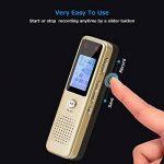 Enregistreur vocal numérique de Aurtec, 8 Go 384Kbps Audio Dictaphone enregistreur audio avec lecteur USB et MP3, activé par la voix, double microphone, boîtier métallique, or de la marque AURTEC image 1 produit