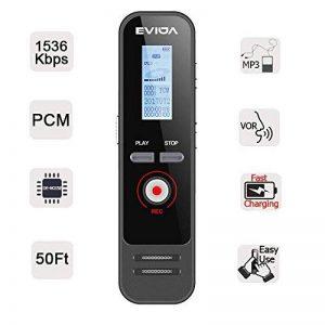 Enregistreur Vocal Numérique avec Chargement Rapide par EVIDA,8G 580 Heures 1536Kbps PCM Activation Vocale Enregistrement 1 Bouton Enregistrer/Enregistré Facile à Installer Lecteur MP3 Intégré (EV51 avec une charge rapide) de la marque EVIDA image 0 produit