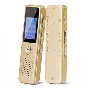 Enregistreur vocal numérique de Aurtec, 8 Go 384Kbps Audio Dictaphone enregistreur audio avec lecteur USB et MP3, activé par la voix, double microphone, boîtier métallique, or de la marque AURTEC image 0 produit