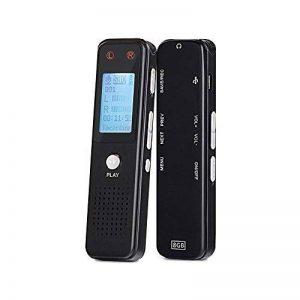 Enregistreur vocal numérique de Aurtec, 8 Go 384Kbps Audio Dictaphone enregistreur audio avec lecteur USB et MP3, activé par la voix, double microphone, boîtier métallique,Noir de la marque AURTEC image 0 produit