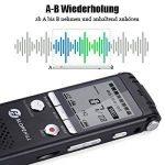 Enregistreur Vocal Numérique, Slopehill 1536kbps PCM 8 Go Prend en Charge le Lecteur de Carte TF avec Réglage d'Affichage LCD Vitesse de Lecture Construit avec MP3 Alliage de Zinc - Noir de la marque slopehill image 2 produit