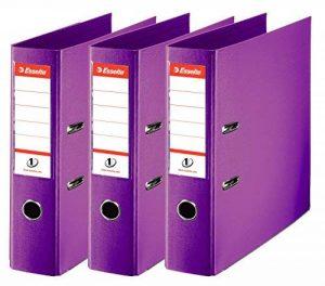 Esselte Lot de 3 Classeurs à Levier, pour l'Archivage, Couverture Plastique, A4, Dos 7,5cm, Violet, N°1 Power, 624282 de la marque Esselte Group image 0 produit