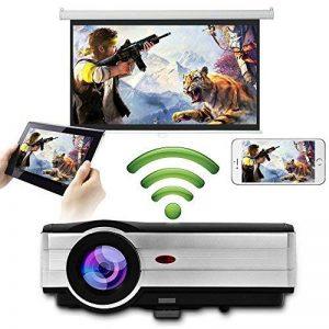 Eug 4000 Lumen LED LCD Android projecteur sans fil Wi-Fi Home Theater 1080p soutien HDMI Cable pour lecteur DVD iPad ordinateur portable téléphone portable, jeux vidéo de divertissement en plein air(Fiche britannique, manuel en anglais) de la marque EUG image 0 produit