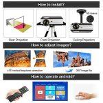 Eug 4000 Lumen LED LCD Android projecteur sans fil Wi-Fi Home Theater 1080p soutien HDMI Cable pour lecteur DVD iPad ordinateur portable téléphone portable, jeux vidéo de divertissement en plein air(Fiche britannique, manuel en anglais) de la marque EUG image 3 produit