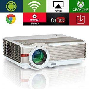 EUG 5000Lumen Android LED LCD Projecteur WXGA 1080p Wifi Home Cinéma Proyectors Sans Fil pour Smartphone iOS, Mulitmédia HDMI USB VGA pour Jeux Vidéo TV Extérieure Moive (Fiche britannique, manuel en anglais) de la marque EUG image 0 produit