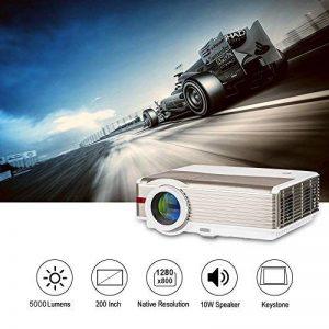 EUG WXGA LCD HD vidéo projecteur en Plein air Movie Theater 1080p Support 5000 Lumen multimédia LED projecteurs pour Ordinateur Xbox TV Box, HDMI USB VGA Audio(Fiche Britannique, Manuel en Anglais) de la marque EUG image 0 produit