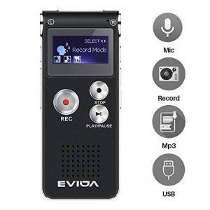 EVIDA Enregistreur vocal numérique de 8 Go intégré Lecteur de musique MP3, Dictaphone audio noir, Lecteur de dictaphone super léger rechargeable multifonction avec intégré 0.5W clairement Haut-parleur de la marque EVIDA image 0 produit