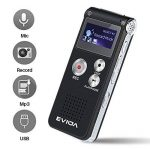 EVIDA Enregistreur vocal numérique de 8 Go intégré Lecteur de musique MP3, Dictaphone audio noir, Lecteur de dictaphone super léger rechargeable multifonction avec intégré 0.5W clairement Haut-parleur de la marque EVIDA image 2 produit