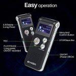 EVIDA Enregistreur vocal numérique de 8 Go intégré Lecteur de musique MP3, Dictaphone audio noir, Lecteur de dictaphone super léger rechargeable multifonction avec intégré 0.5W clairement Haut-parleur de la marque EVIDA image 1 produit